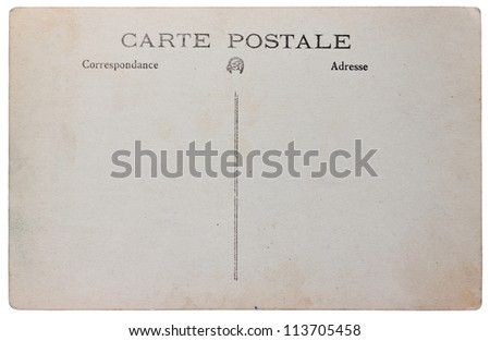 old post card`s paper template, 1925 year - stock photo