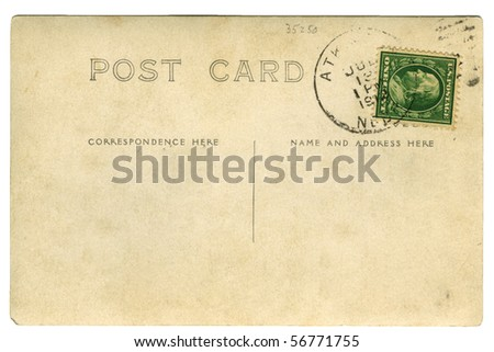 Old Post Card with Stamp - stock photo