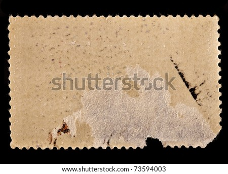 old postage frame on black background  - stock photo