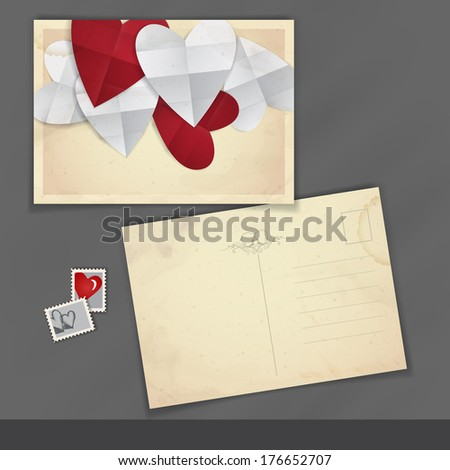 Old Postcard Design, Template. Happy Valentines Day.