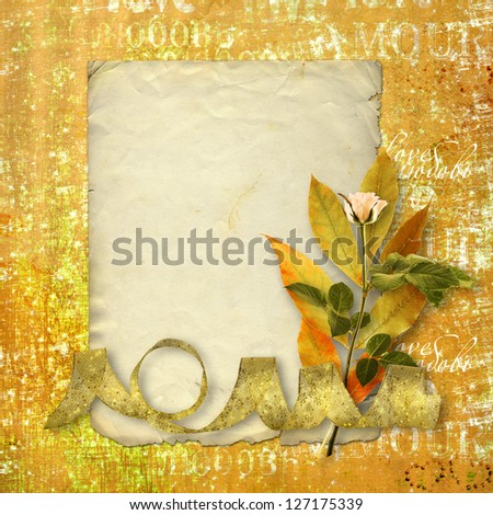 Old postcard for congratulation with bunch of flowers on abstract background