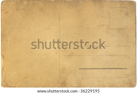 old postcard isolated on white background
