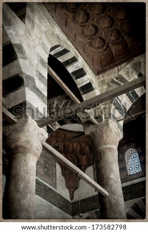 Old Postcard style, Muhamed Ali mosque, Cairo. - stock photo