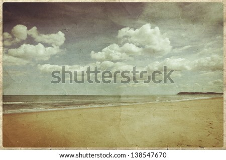 Old postcard style, Ri mini Beach - stock photo