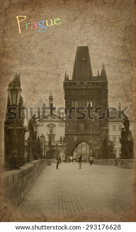 Old postcard with view of Prague - stock photo
