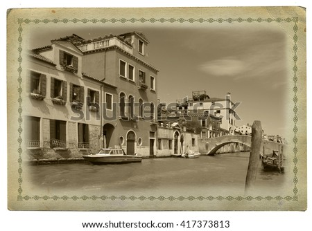 Old postcard with view of Venice