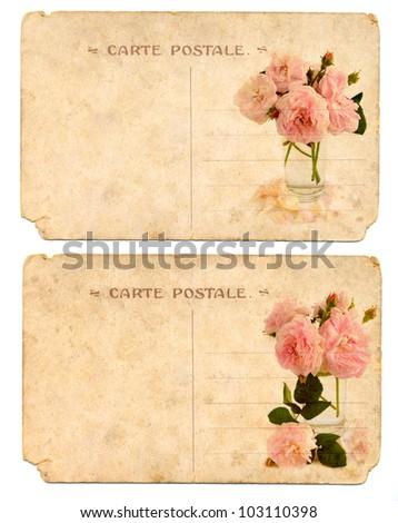 Old postcards back side - stock photo