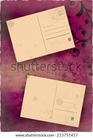 Old postcards floral pink collage with recycled paper design