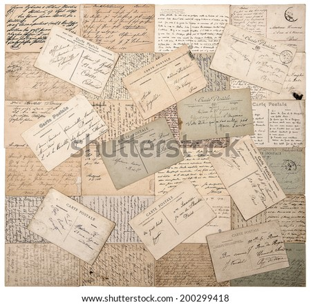 old postcards. handwritten undefined texts from ca. 1900. grunge retro style papers background