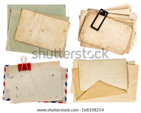 old postcards isolated on white background. vintage paper sheets with clip. air mail envelope. retro design - stock photo