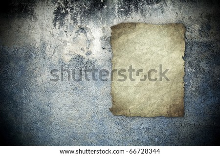 old poster on grunge wall - stock photo