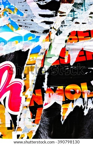 Old posters / Ripped posters / Grunge textures and backgrounds and ripped paper - stock photo