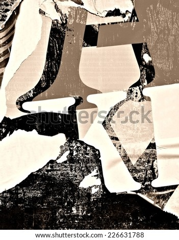 Old posters / Torn posters / Ripped paper - stock photo