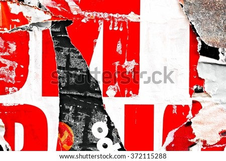 Old posters / Torn posters / Ripped paper as background            - stock photo