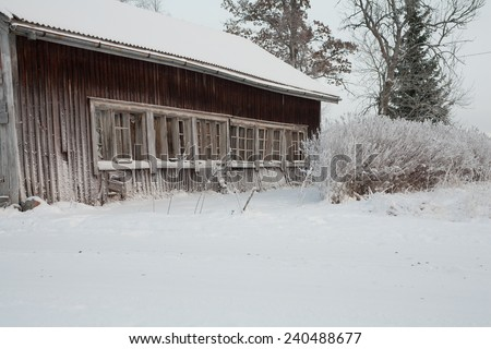 Old poultry house in winter.