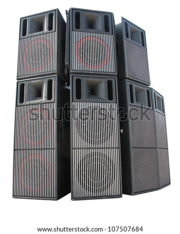 Old powerful stage concert audio speakers isolated on white background