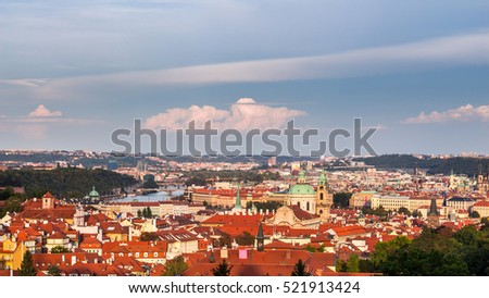 Old Prague panorama with cityscape of Hradcany, St. Vitus Cathedral and red roofs, Prague, Czech Republic