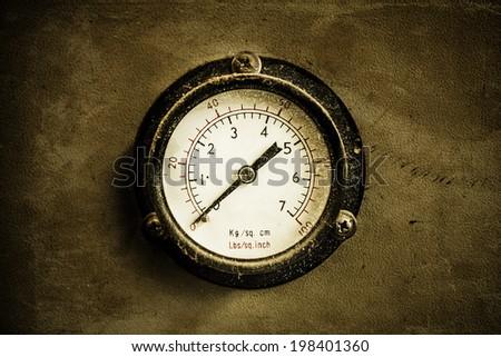 Old pressure gauge - stock photo