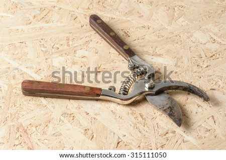 old pruning scissors isolated on wooden desk - stock photo