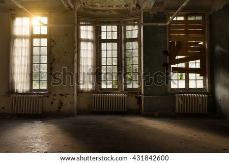 old psychiatric hospital - stock photo