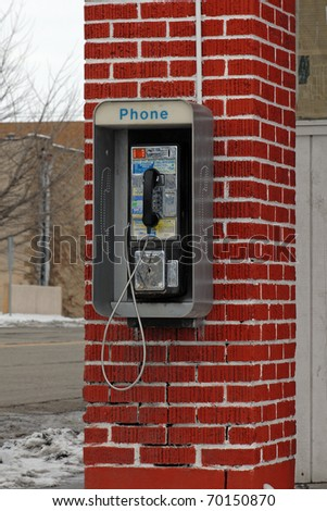 old public pay telephone - stock photo
