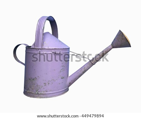 Old purple watering can isolated on white background