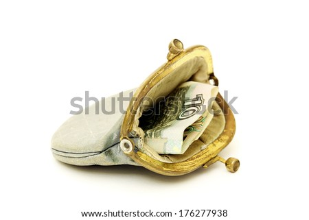 Old purse with russia money - stock photo