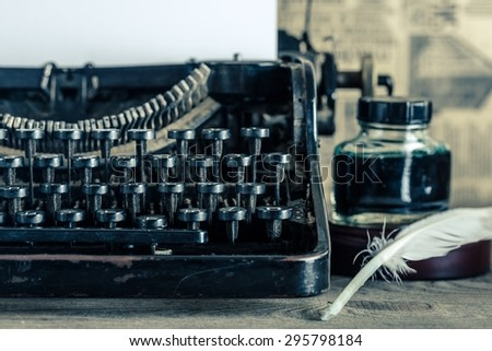 Old, push button, page. - stock photo