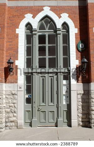 old quebec church door - stock photo