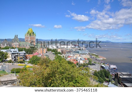 Old Quebec City skyline in summer, viewed from La Citadelle, Quebec City, Quebec, Canada - stock photo