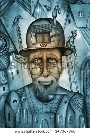 Old rabbi. Illustration by Eugene Ivanov. - stock photo
