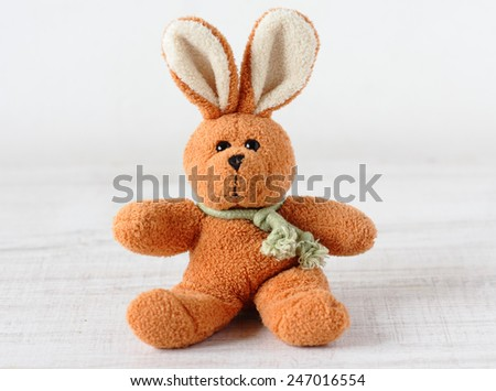 Old rabbit toy - stock photo