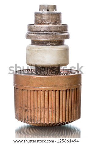 Old radio amplifying tube GS-35B (3CX1500A7/8877). Isolated on white background - stock photo