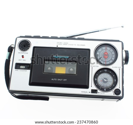 Old Radio Cassette tape on white background. - stock photo