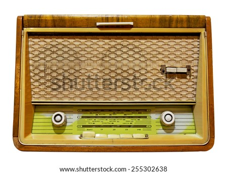 Old radio isolated. Clipping path included. - stock photo