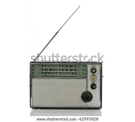 Old radio isolated on white - stock photo