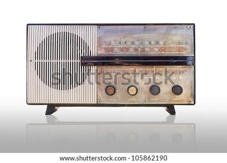 Old radio isolated on white background. - stock photo