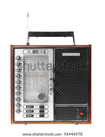 Old radio isolated on white backround - stock photo