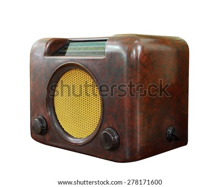 Old radio isolated over white background, clipping path. - stock photo