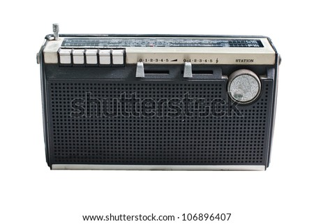 Old radio on a white background