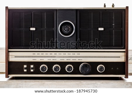old radio on isolated white background
