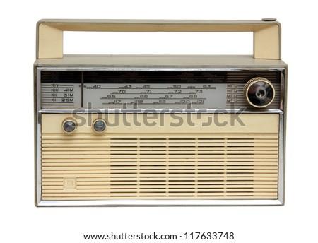 old radio receiver isolated on white - stock photo