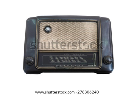 Old radio receiver of the last century isolate on over white background - stock photo
