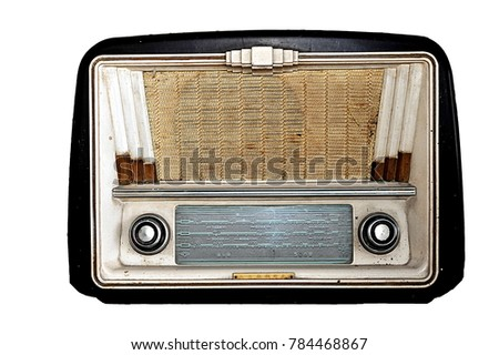 Old radio receiver on the white background