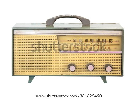 old Radio retro isolate on white - stock photo