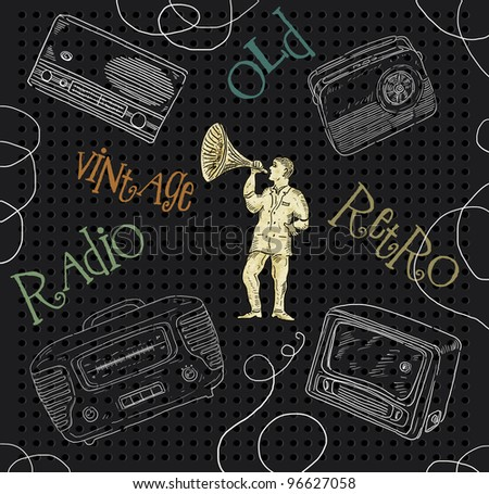 Old radio set illustration - stock photo