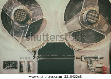 Old radio with cassette player, two heads. Color Vintage - stock photo