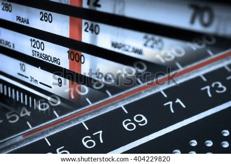 Old radios tuners frequencies montage in monochrome - stock photo