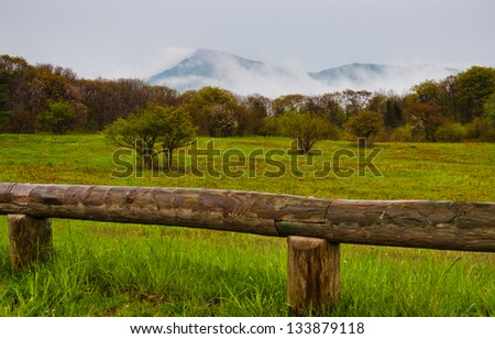 Old Rag Mountain in fog, Shenandoah National Park, Virginia - stock photo