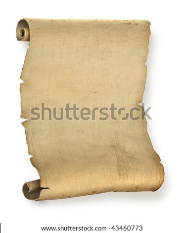 Old ragged manuscript paper or parchment document roll - stock photo